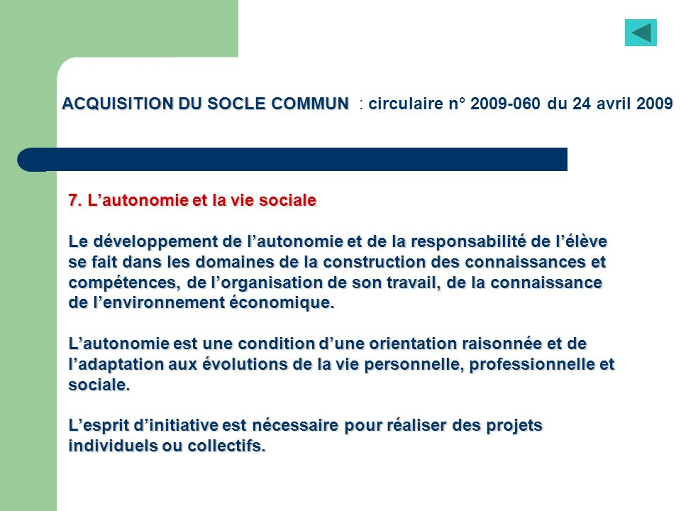 ACQUISITION DU SOCLE COMMUN : circulaire n° du 24 avril 2009