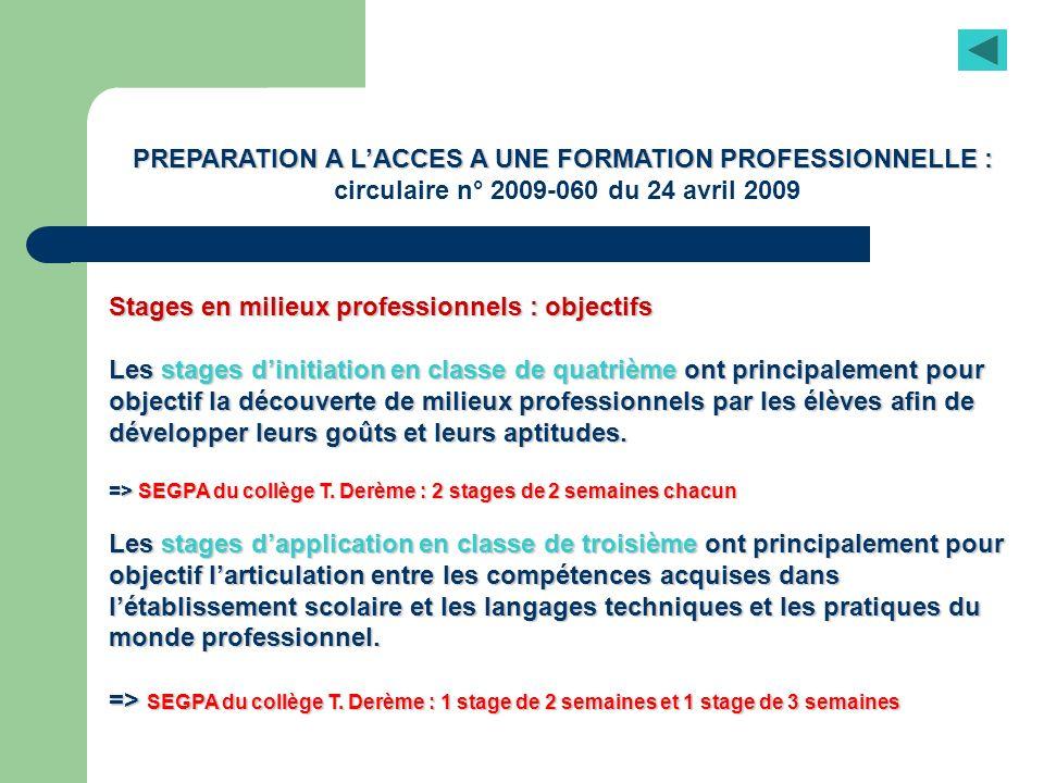 PREPARATION A L'ACCES A UNE FORMATION PROFESSIONNELLE :