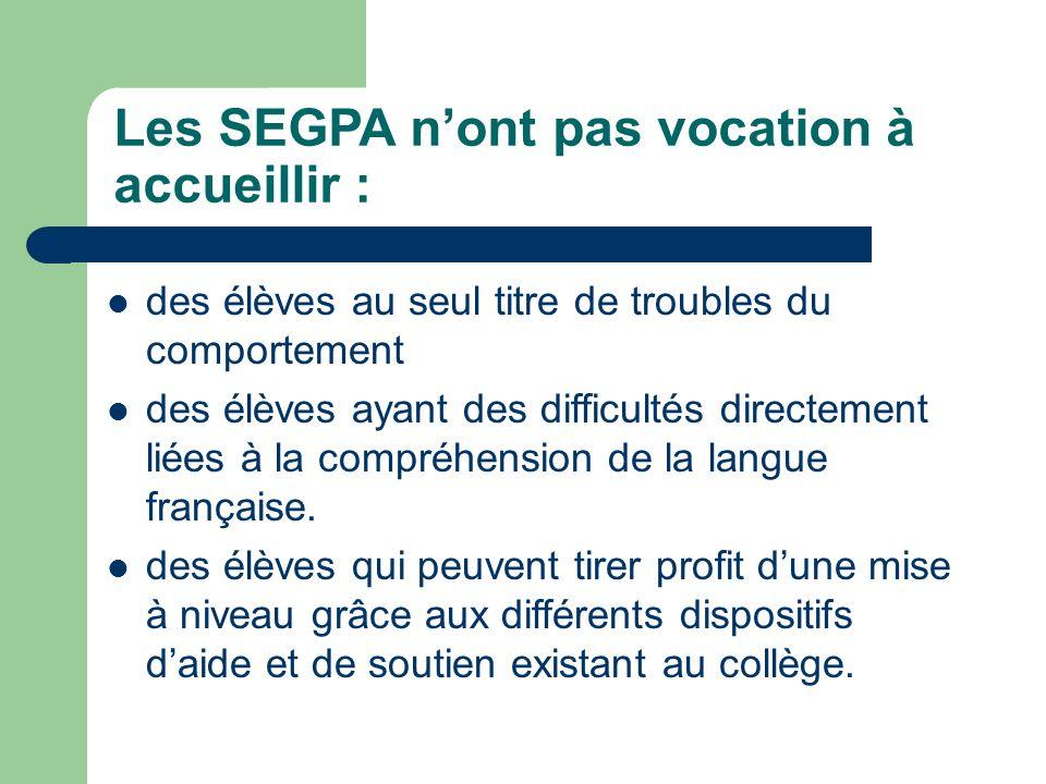 Les SEGPA n'ont pas vocation à accueillir :