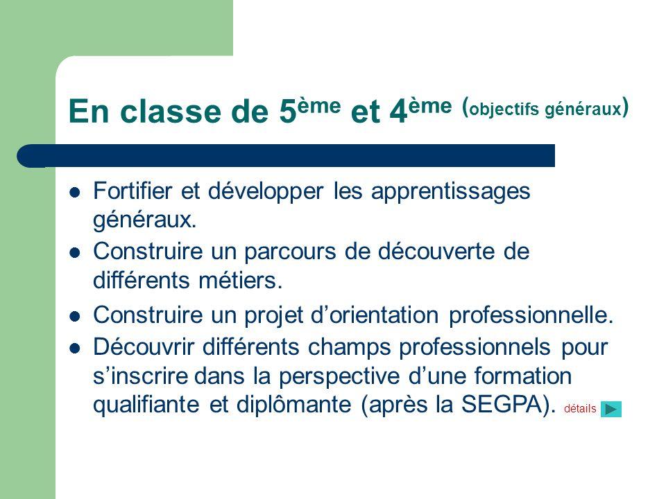 En classe de 5ème et 4ème (objectifs généraux)