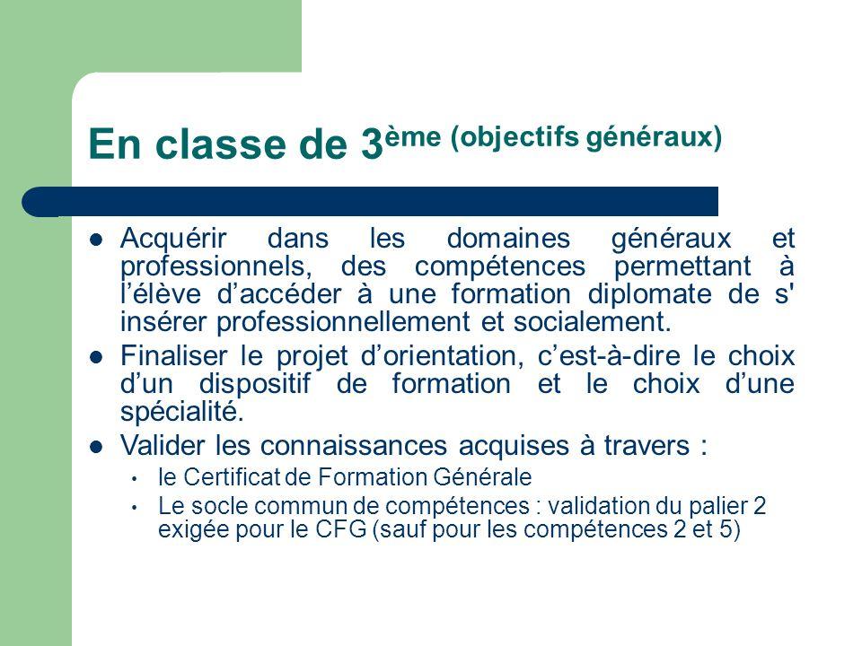 En classe de 3ème (objectifs généraux)