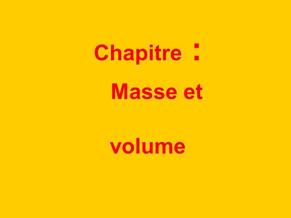 Chapitre : Masse et volume
