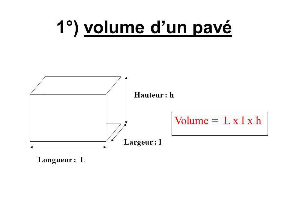 1°) volume d'un pavé Volume = L x l x h Hauteur : h Largeur : l