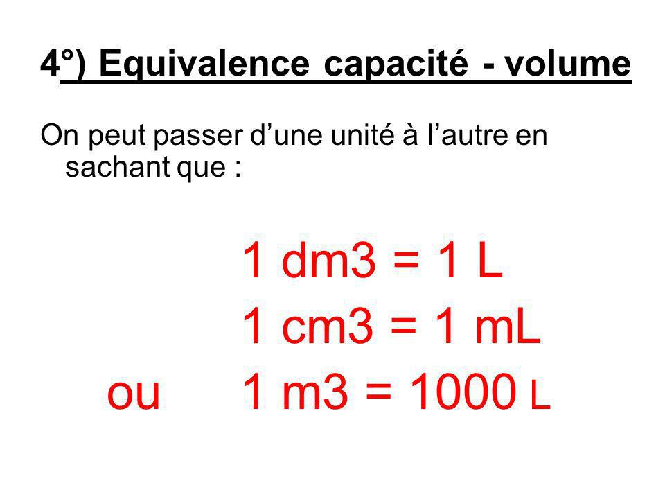 4°) Equivalence capacité - volume