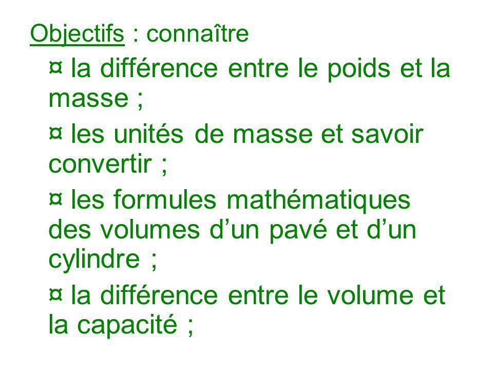 ¤ les unités de masse et savoir convertir ;