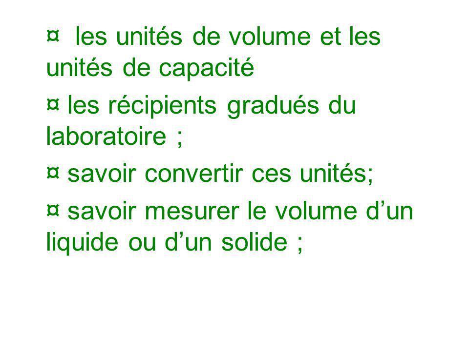 ¤ les unités de volume et les unités de capacité