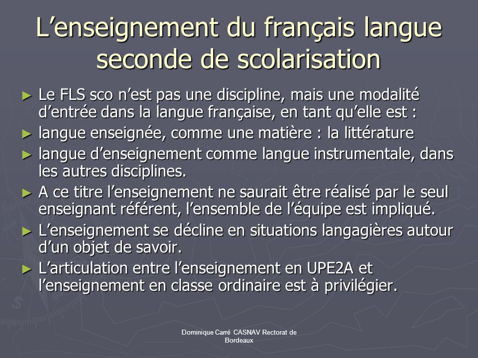 L'enseignement du français langue seconde de scolarisation