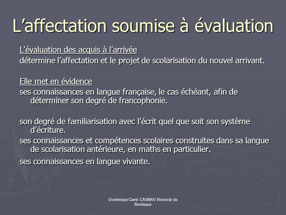 L'affectation soumise à évaluation