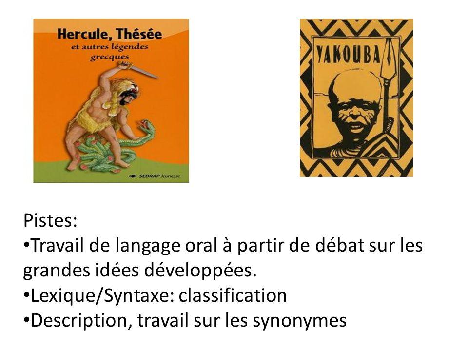 Pistes: Travail de langage oral à partir de débat sur les grandes idées développées. Lexique/Syntaxe: classification.