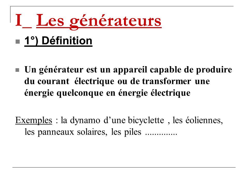 I_ Les générateurs 1°) Définition