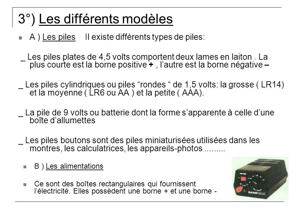 3°) Les différents modèles