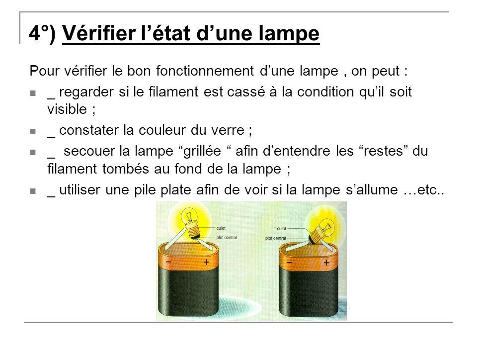 4°) Vérifier l'état d'une lampe