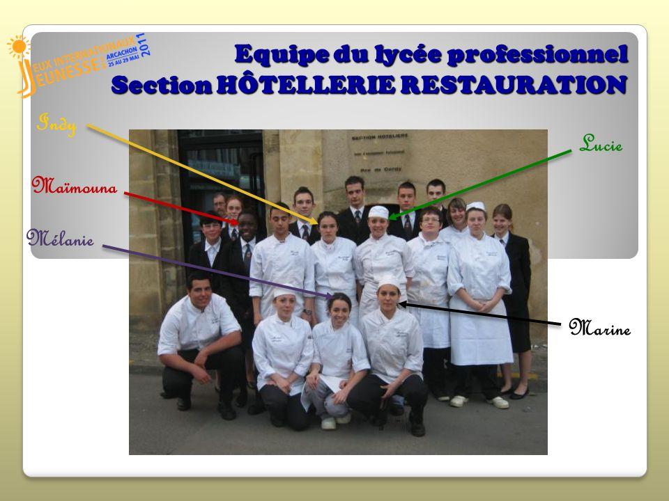 Equipe du lycée professionnel Section HÔTELLERIE RESTAURATION
