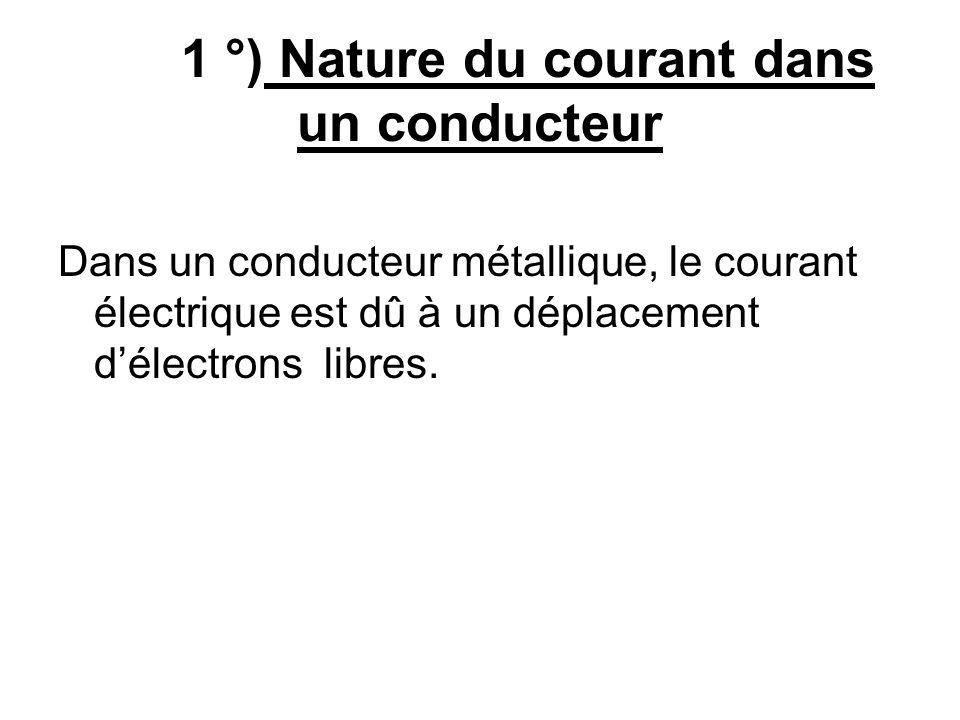 1 °) Nature du courant dans un conducteur