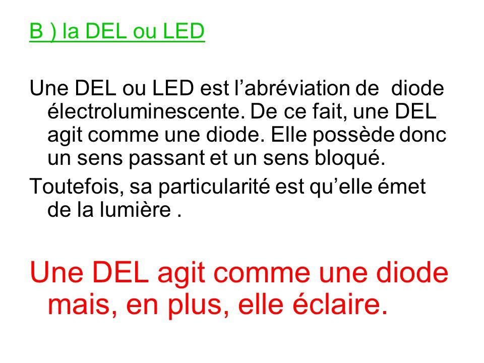 Une DEL agit comme une diode mais, en plus, elle éclaire.