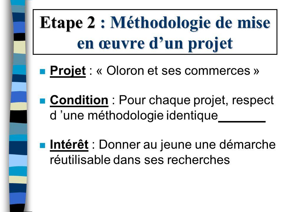 Etape 2 : Méthodologie de mise en œuvre d'un projet