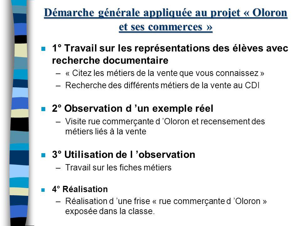 Démarche générale appliquée au projet « Oloron et ses commerces »