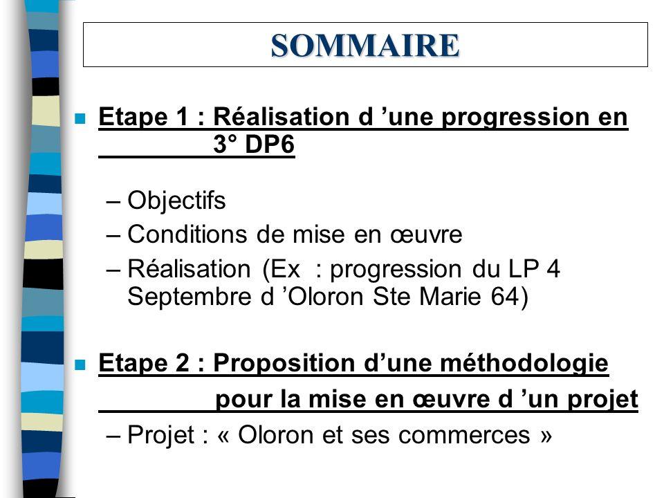 SOMMAIRE Etape 1 : Réalisation d 'une progression en 3° DP6 Objectifs