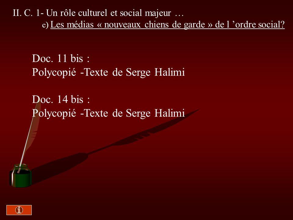 Polycopié -Texte de Serge Halimi Doc. 14 bis :