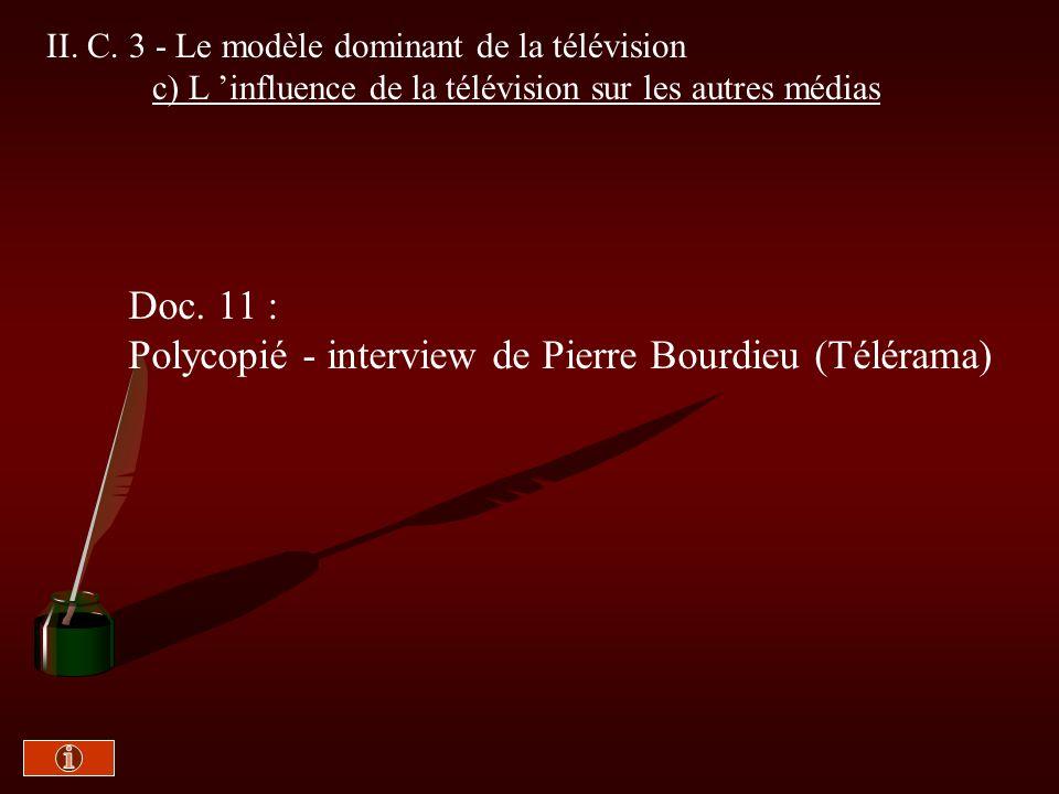 Polycopié - interview de Pierre Bourdieu (Télérama)