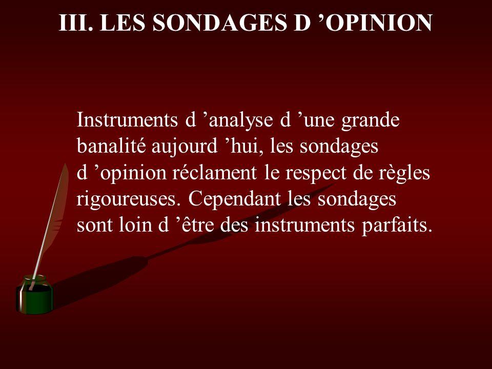 III. LES SONDAGES D 'OPINION