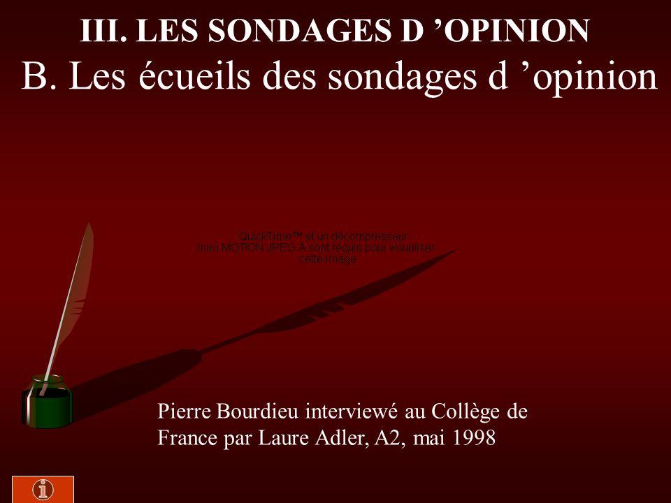 III. LES SONDAGES D 'OPINION B. Les écueils des sondages d 'opinion