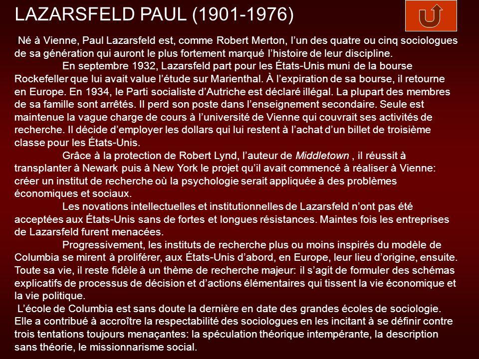 LAZARSFELD PAUL (1901-1976)