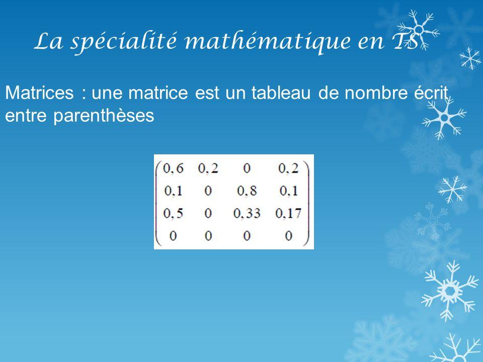 La spécialité mathématique en TS