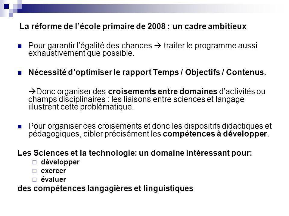 La réforme de l'école primaire de 2008 : un cadre ambitieux