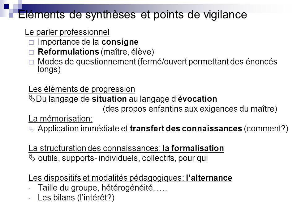 Eléments de synthèses et points de vigilance