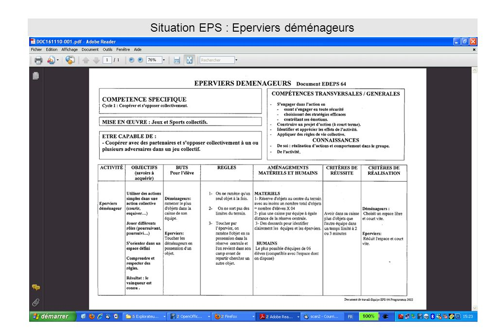 Situation EPS : Eperviers déménageurs