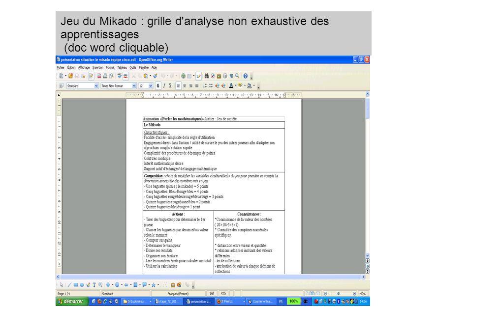 Jeu du Mikado : grille d analyse non exhaustive des apprentissages