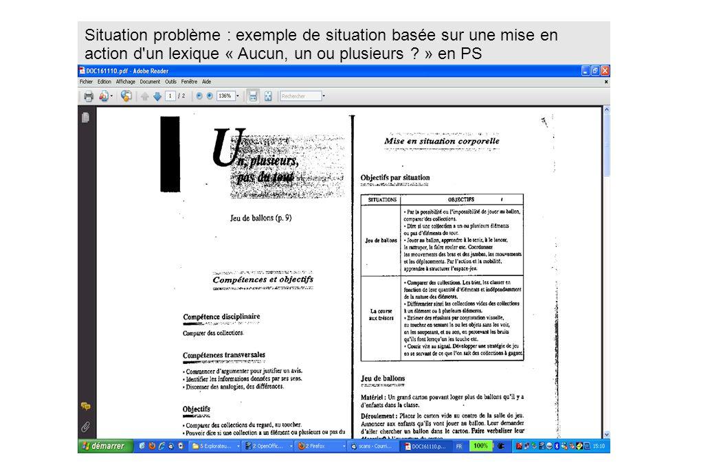 Situation problème : exemple de situation basée sur une mise en action d un lexique « Aucun, un ou plusieurs » en PS