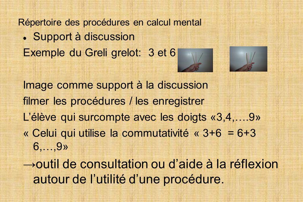 Répertoire des procédures en calcul mental
