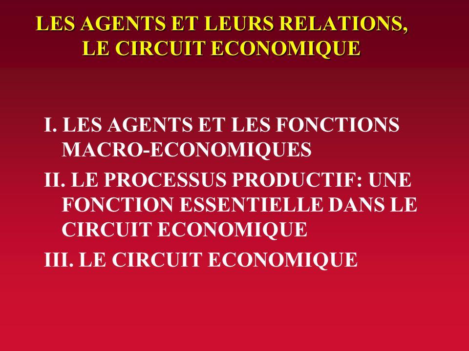 LES AGENTS ET LEURS RELATIONS, LE CIRCUIT ECONOMIQUE