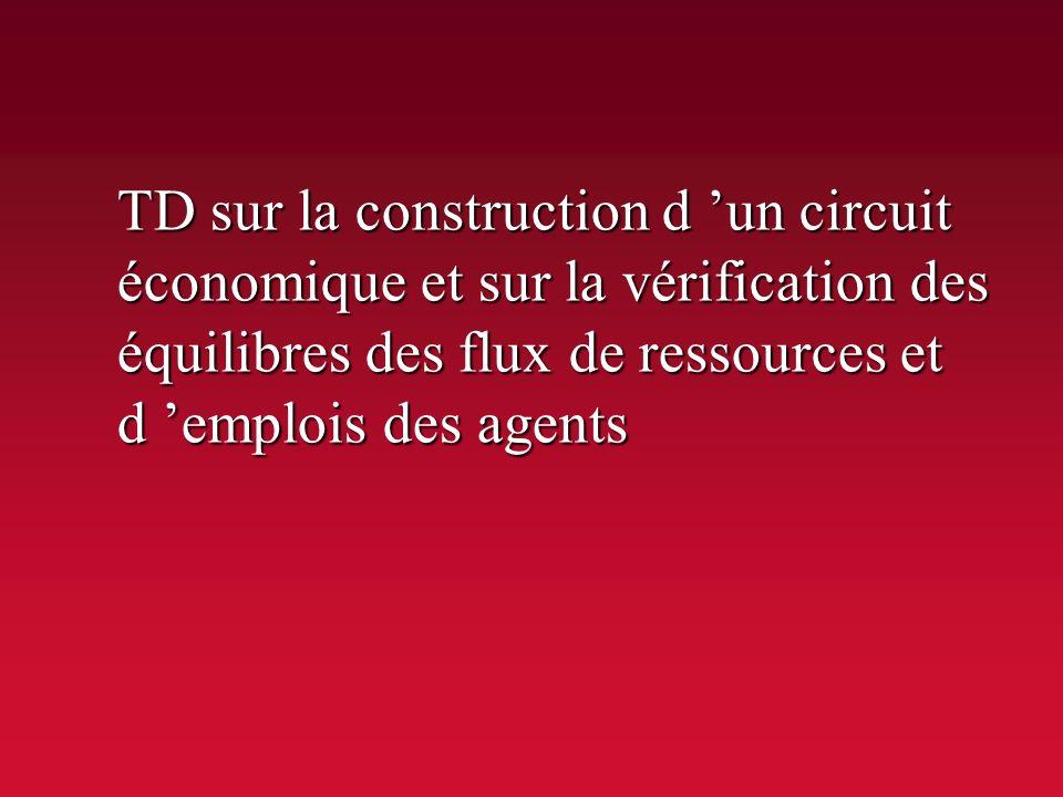 TD sur la construction d 'un circuit économique et sur la vérification des équilibres des flux de ressources et d 'emplois des agents
