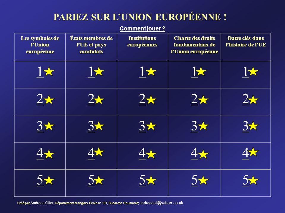 1 2 3 4 5 PARIEZ SUR L'UNION EUROPÉENNE ! Comment jouer