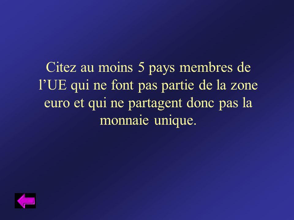 Citez au moins 5 pays membres de l'UE qui ne font pas partie de la zone euro et qui ne partagent donc pas la monnaie unique.