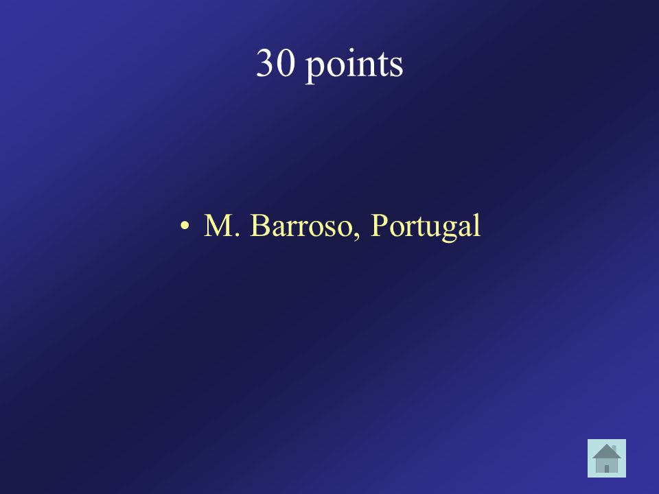30 points M. Barroso, Portugal