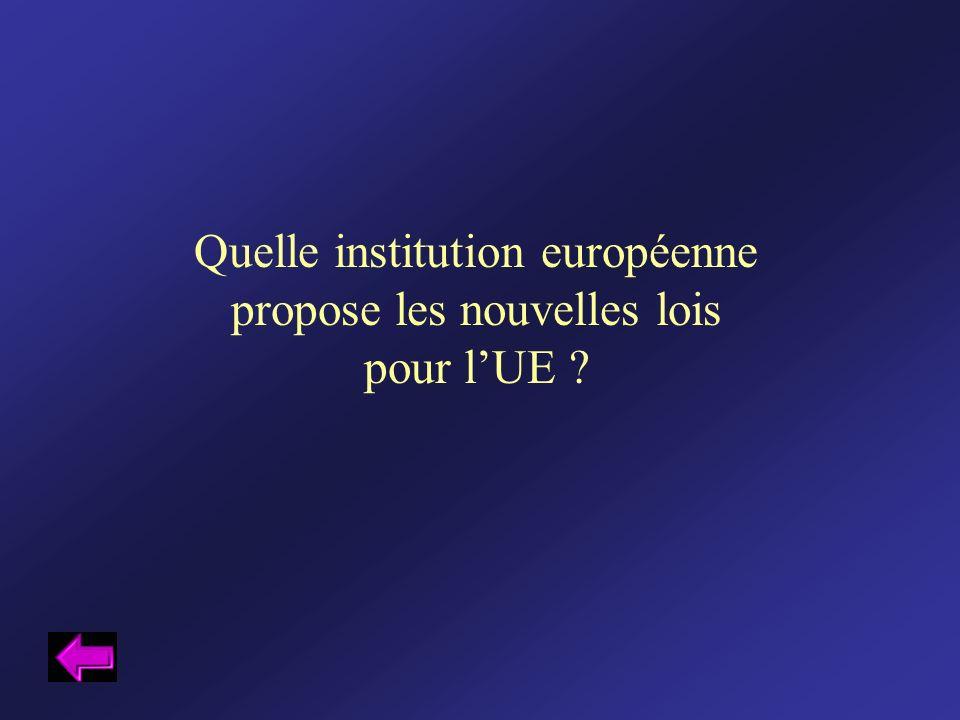 Quelle institution européenne propose les nouvelles lois pour l'UE