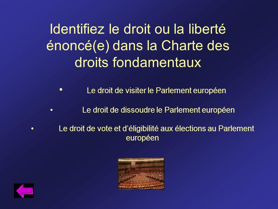 Identifiez le droit ou la liberté énoncé(e) dans la Charte des droits fondamentaux