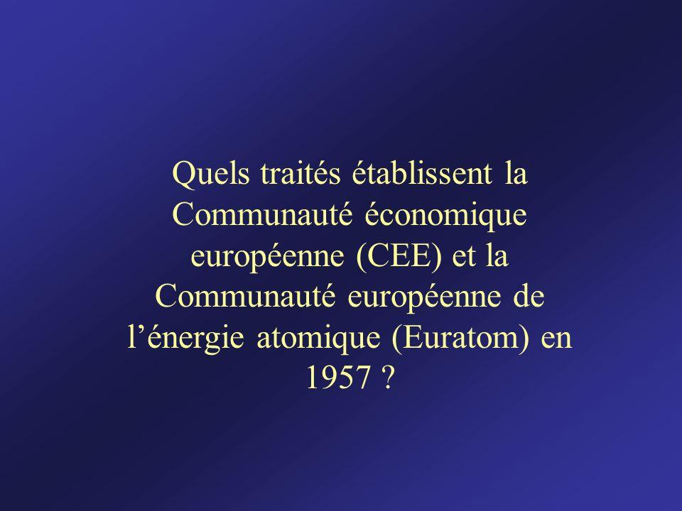 Quels traités établissent la Communauté économique européenne (CEE) et la Communauté européenne de l'énergie atomique (Euratom) en 1957