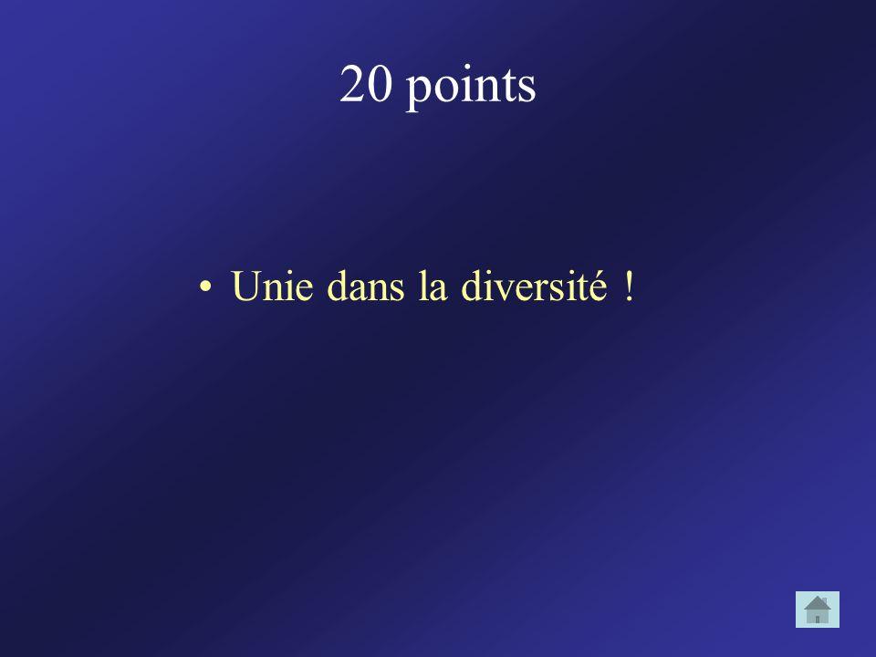 20 points Unie dans la diversité !
