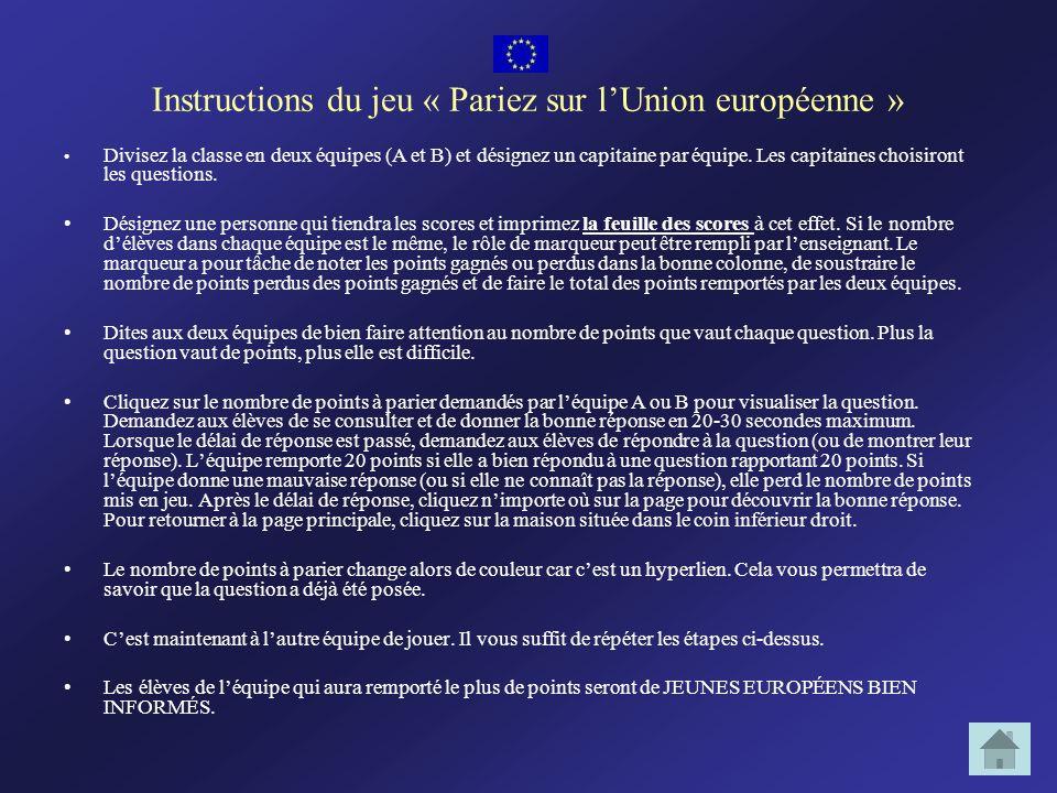 Instructions du jeu « Pariez sur l'Union européenne »