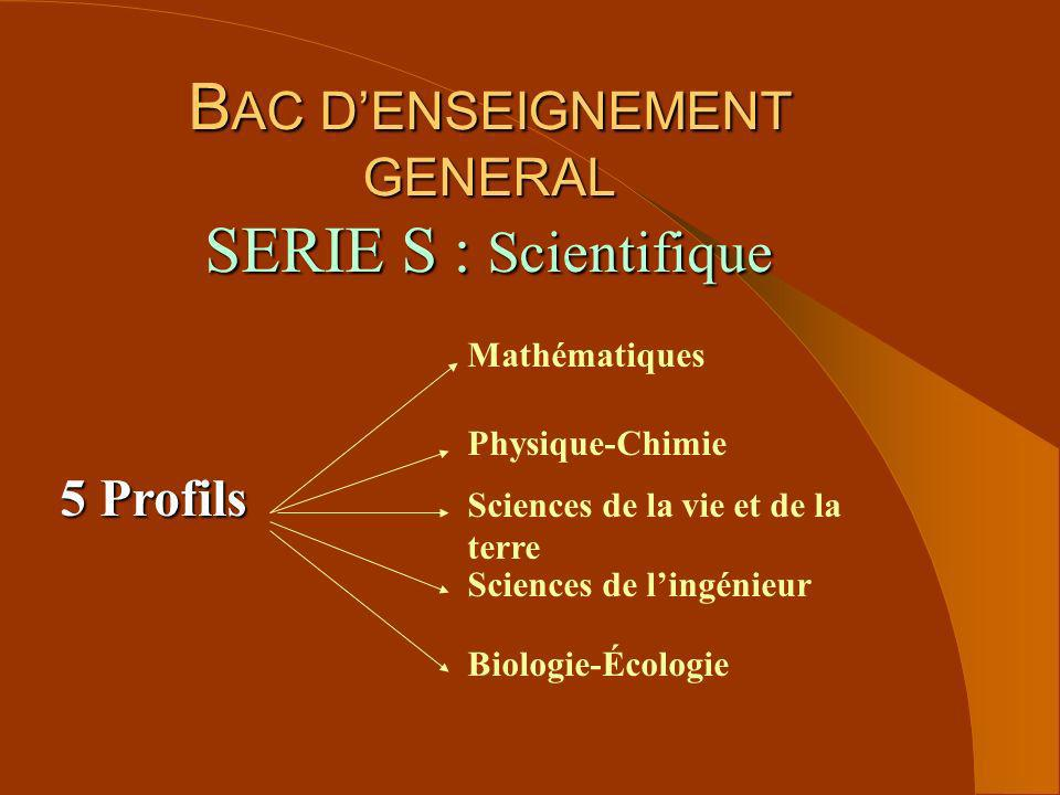 BAC D'ENSEIGNEMENT GENERAL