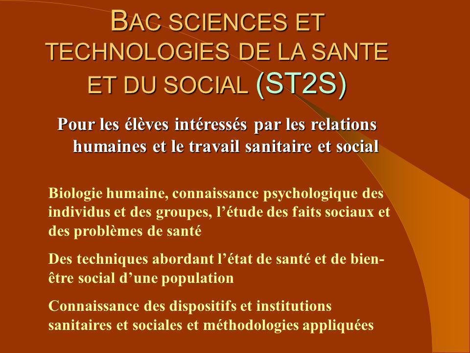 BAC SCIENCES ET TECHNOLOGIES DE LA SANTE ET DU SOCIAL (ST2S)
