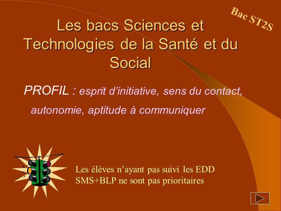 Les bacs Sciences et Technologies de la Santé et du Social