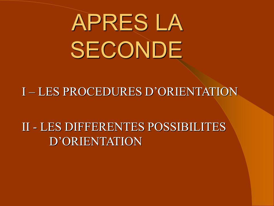 APRES LA SECONDE I – LES PROCEDURES D'ORIENTATION