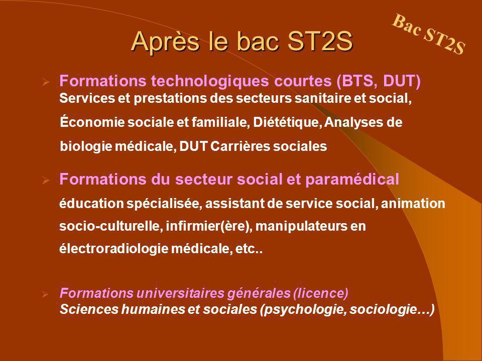 Après le bac ST2S Bac ST2S. Formations technologiques courtes (BTS, DUT) Services et prestations des secteurs sanitaire et social,