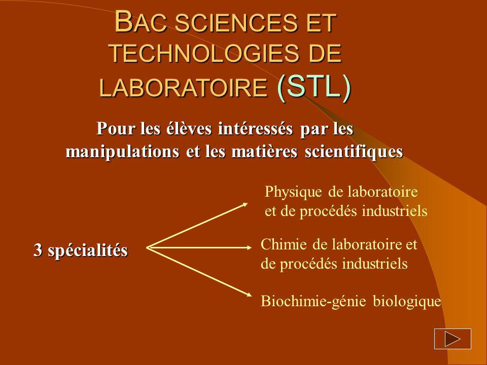BAC SCIENCES ET TECHNOLOGIES DE LABORATOIRE (STL)